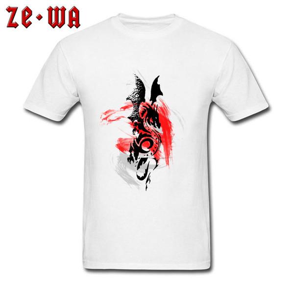 Dragão chinês T-shirt Impresso Homens Camiseta Pintura A Tinta Branco Tops 100% Algodão Tees Viagem Adulto Roupas de Manga Curta Tshirt