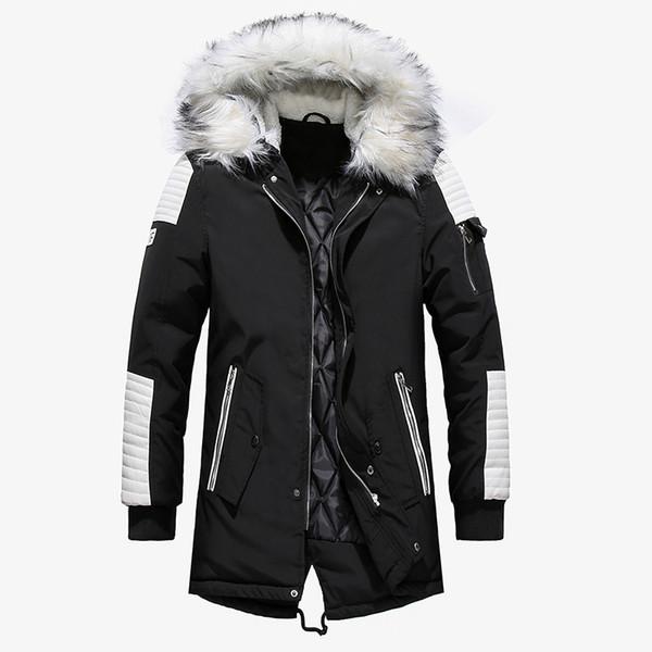 Grueso cálido abrigo Parkas chaqueta de invierno de los hombres ocasionales largo Outwear con capucha cuello de piel Chaquetas rompevientos Abrigos de cuero Hombres Veste Homme
