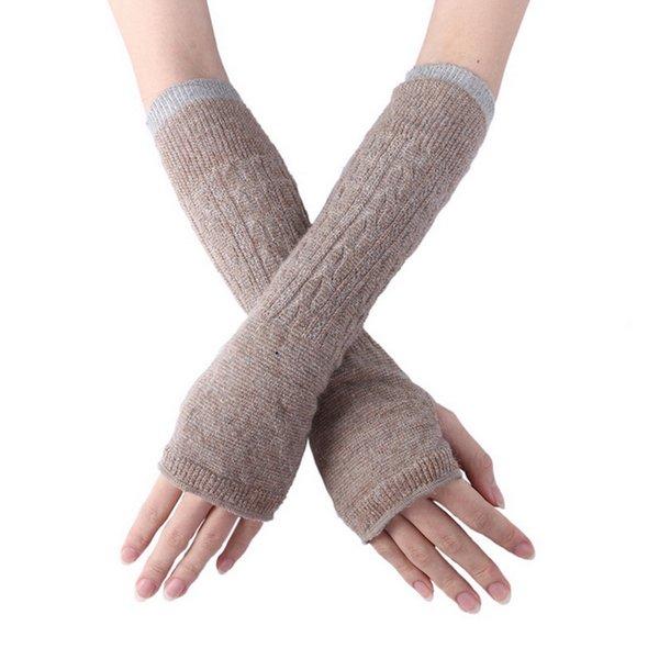Fashion Long Fingerless Gloves Soft Women Winter Knitted Warm Half-finger Gloves Wool Long Multiple Colour Women
