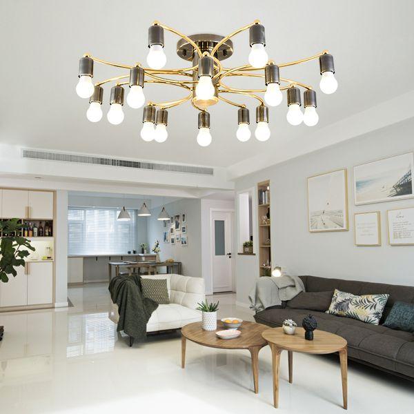 Großhandel 2019 Nordic Deckenleuchte Luxus Einfache Wohnzimmer Schlafzimmer  Pendelleuchte Kreatives Design LED Schwarz Gold Kronleuchter Beleuchtung ...