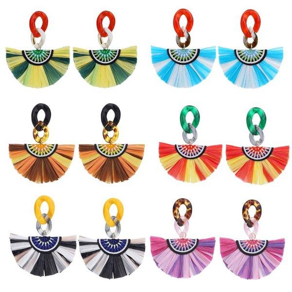 Boho Renkli Rafya Çim Fan-şekil Püskül Saçak Akrilik Dangle Küpe Kadınlar
