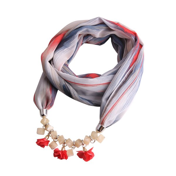 New Colorful Flowers Pendant Printing Chiffon Scarf Necklace for Women Muffler Necklace Jewelry