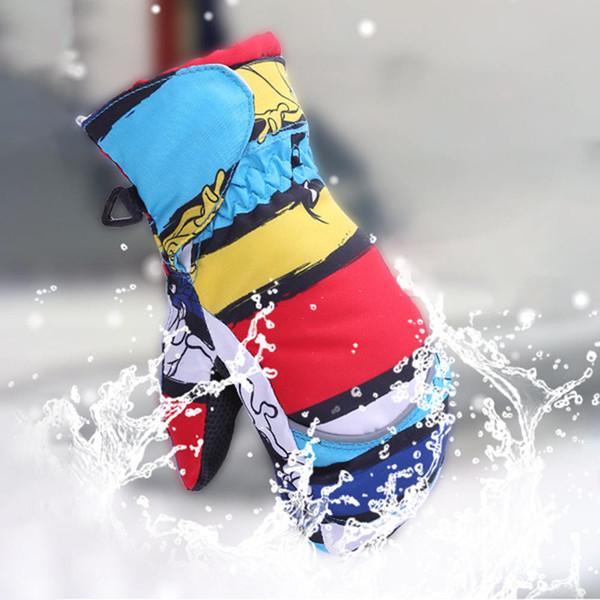 Niños Guantes de esquí de invierno Ciclismo Montar Cálido impermeable a prueba de viento Niñas Niños Niños Esquí Guantes