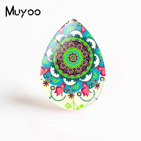 New Peace Mandala Jewelry Mandala Art Painting Tear Drop Cabochon Hand Craft Glass Cabochons For Women