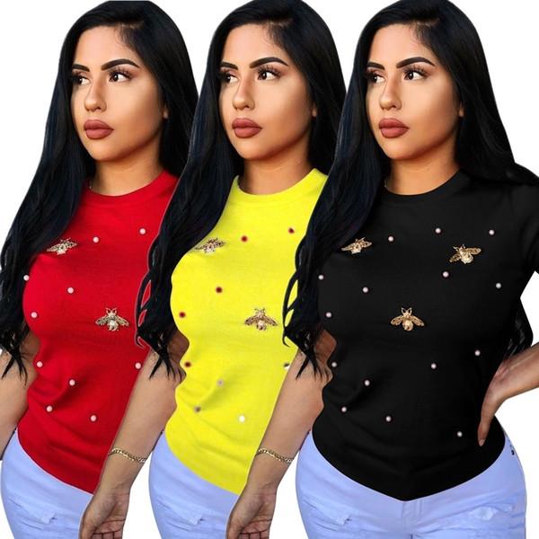 P8291 patlama modelleri yaz yeni elastik boncuklu kelebek dekorasyon yuvarlak boyun büyük boy kadın T-shirt kadın kısa kollu