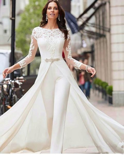 Beyaz Tulumlar 2019 Gelinlik Uzun Kollu Dantel Aplike Ayrılabilir Etek Artı Boyutu Pantolon Ile Saten Gelin Törenlerinde Vestidos De Novia