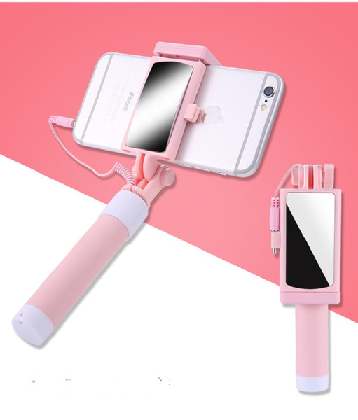 Mini Wire Control Selfie Monopods Mobile Phone Selfie Stick Rear View Mirror Folding Wired One Universal