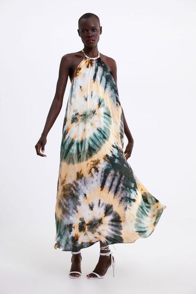 2019 Sexy Women Hang Neck Tie Dyed Printed Dress Long Halter Satin Strap Dress A7-22541