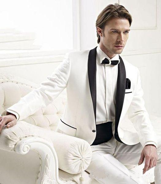 New Stylish Design Groom Tuxedos One Button Ivory Shawl Lapel Groomsmen Best Man Suit Mens Wedding Suits (Jacket+Pants+Tie) 779