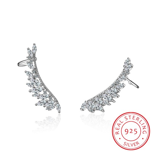 925 sterling silver Needle Zirconia Angel Wings Stud Earrings For Women Bijoux Fine Jewelry Ear Cuff Cute Gift