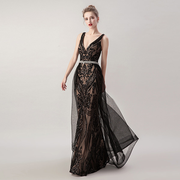 2019 Little Black Long Mermaid Evening Dresses with Detachable Tulle Skirt Sequin Sexy V-neck Criss-Cross Backless Prom Gowns