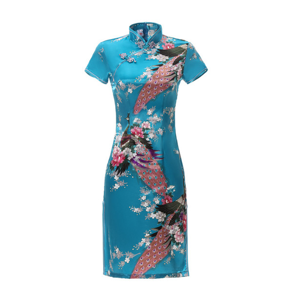Qipao Cheongsams Vestido Chino Mujeres Satén Manga Corta Phoenix Tradicional Vestido Impreso Vestido Slim Lady Robe Plus Tamaño 5XL 6XL