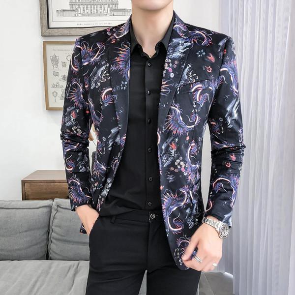 Traje Hombre 2019 Slim Party Bankett Herren Blazer British Style Muster Anzug Beliebte Print Veste Homme Kostüm M-5XL