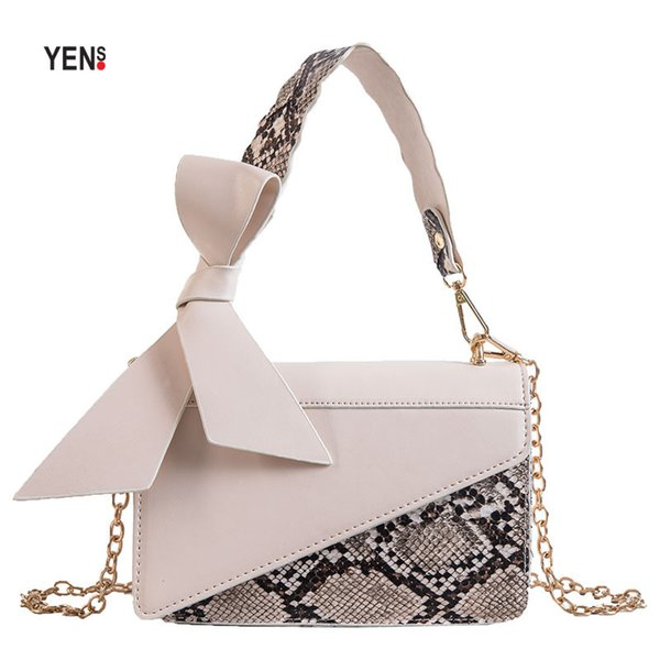 Vintage femmes en cuir sac à main designer serpent serpent imprime arc rabat petit bandoulière sac épaule de luxe sacs chaîne sac Lady bourse d'embrayage
