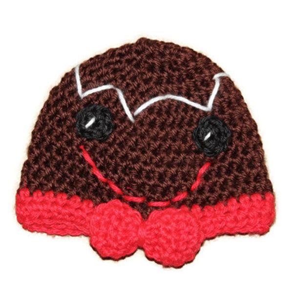 Crochet Adorable Baby Gingerbread Man Beanie,Handmade Knit Baby Boy Girl Christmas Holiday Hat,Infant Newborn Photo Prop