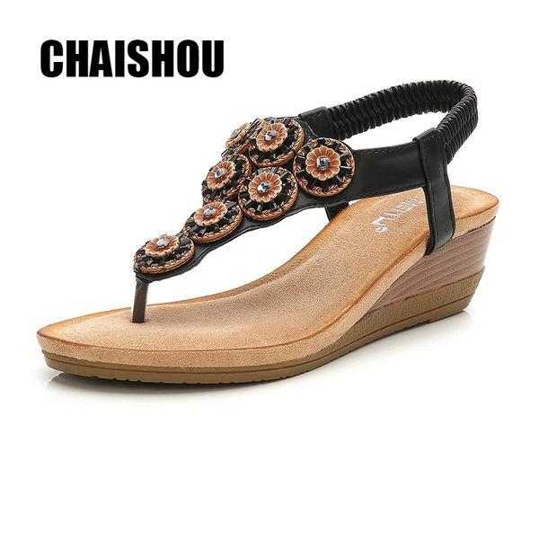 shoes woman Sandals 2019 Summer Wedges T-strap Flip Flops Thong Sandals Designer Ladies Gladiator Zapatos Mujer size 36-42 DZ29