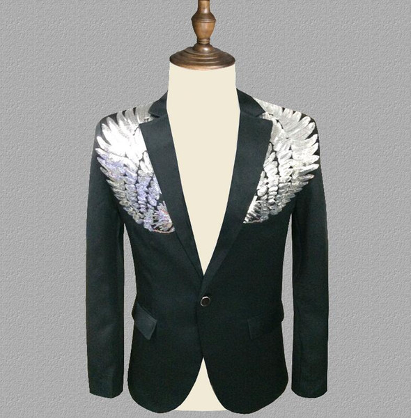Pul blazer erkekler Kanat takım elbise suits tasarımlar mens şarkıcılar için sahne kostümleri giysi dans yıldız tarzı elbise punk rock masculino