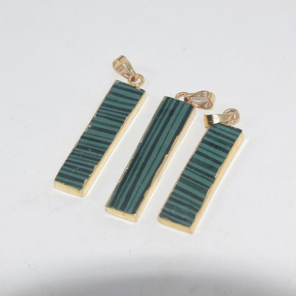 5pc Free Shipping Fashion Jewelry Green Long rectangle stone necklace pendant malachite gold point pendant for women accessories
