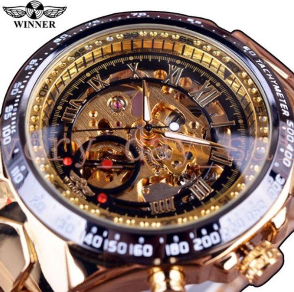 Winner New Number Sport 44mm Design Bezel Golden Watch Mens Watches Top Brand Luxury Montre Homme Clock Men Automatic Skeleton Watch