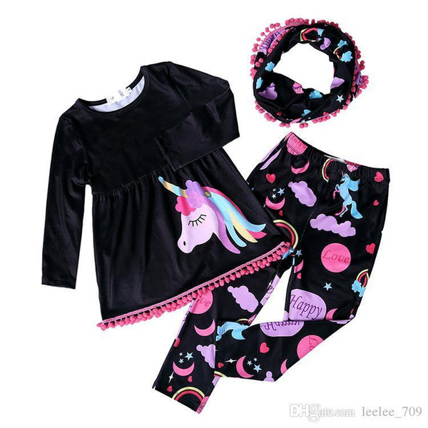 Fall Winter Unicorn Scarf Set Children Cotton Suit Baby Forest Animal Girls 3pieces Red Long Sleeves Pants Boutique Clothes Kids