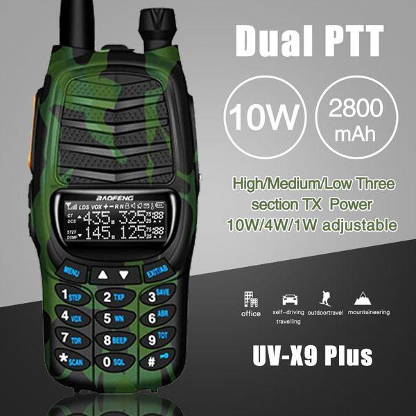 2Pcs Baofeng UV-X9 Plus Powerful Walkie Talkie Triple 10W/4W/1W High Power Dual PTT VHF/UHF Dual Band 10km Long Range Ham Radio