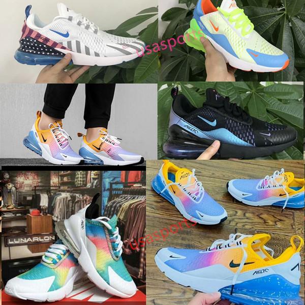 2019 Atletik 270 Eğitmenler Erkekler Gökkuşağı Yeni çocuk erkek kız Sneakers Erkek Yürüyüş Spor 270 s Siyah Beyaz 27c 2018 Kadınlar rahat Koşu Ayakkabıları