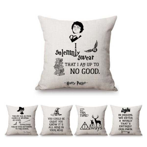 Black White Letter Print Harry Potter Quotes Home Decorative Throw Pillow Case Nordic Cotton Linen Sofa Cushion Cover Car Pillow Wicker Chair Cushions
