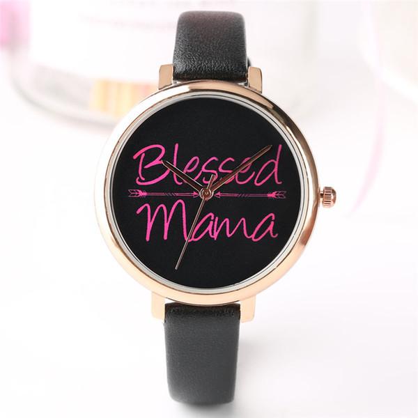 Quartz Watches Women Blessed Mama Series Wrist Watch Simple Fashion Bracelet Watch Ladies White Dial Watches Gifts reloj