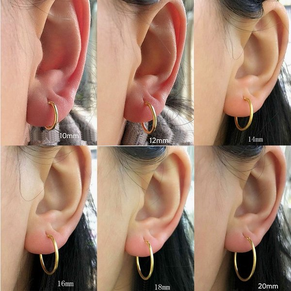 Round 925 Sterling Silver Hoop Earring Simple Circle Female Earrings Bijoux oorbellen Black Gold Small&Big Earrings Jewelry S4