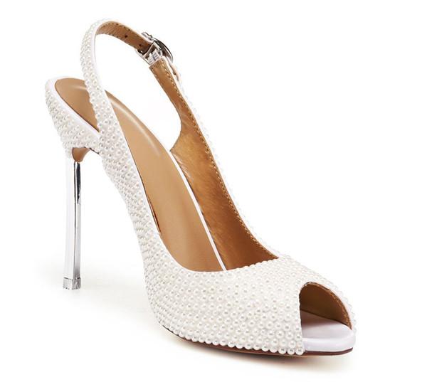 Sandales pour femmes White Pearls, chaussures de mariage, mariée, super haut talons minces, peep toe, chaussures gracieuses