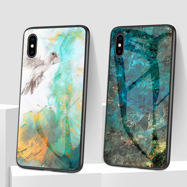 Luxury Marble Phone Case for iPhone X Xs Max Glass PC Agate Back Cover Silicone Soft Edge Coque Case for iPhone7/8 Plus