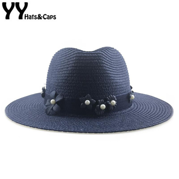 Navy Color Panama hat for Women Straw CAP Floral Pearl Sun hat Elegant Lady Sun Visor Cap Wide Brim Gangster Beach Hats YY18105