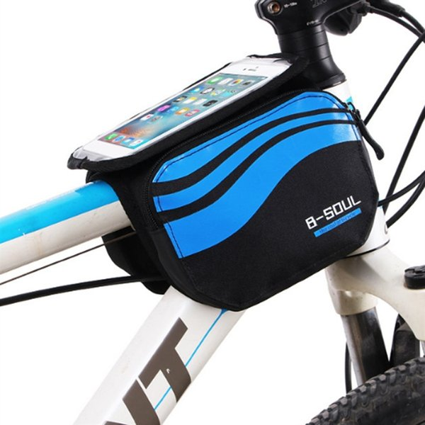 B-SOUL Bicycle Frame Saddle Bag Bike Storage Bag for 5/5.7 Inch Mobile Phone Screen Touch Holder for Outdoor Riding #181487
