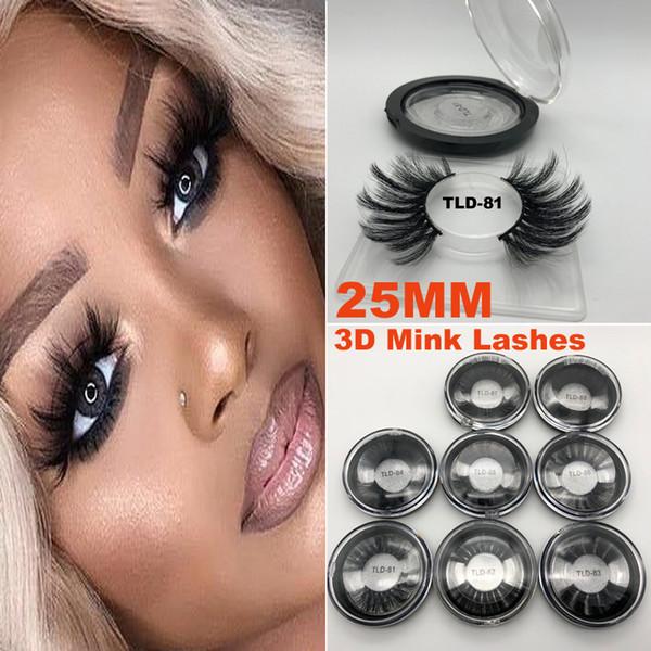 Super Long 25mm 3D 5D Cils De Vison Dramatiques Véritable Vison Cheveux Cils 25 mm À La Main Faux Cils Maquillage Des Yeux Maquiagem