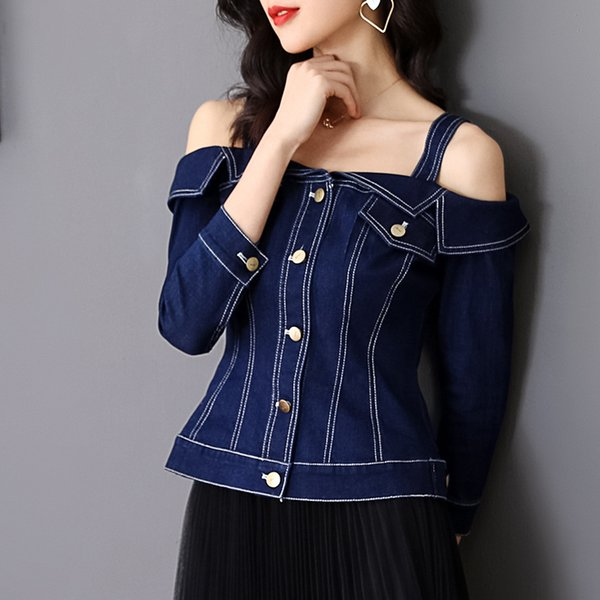 High Quality Denim Jackets 2019 Spring Fashion Jeans Coat Women Spaghetti Strap Sexy Off Shoulder Tops Coat Female Casual Coats