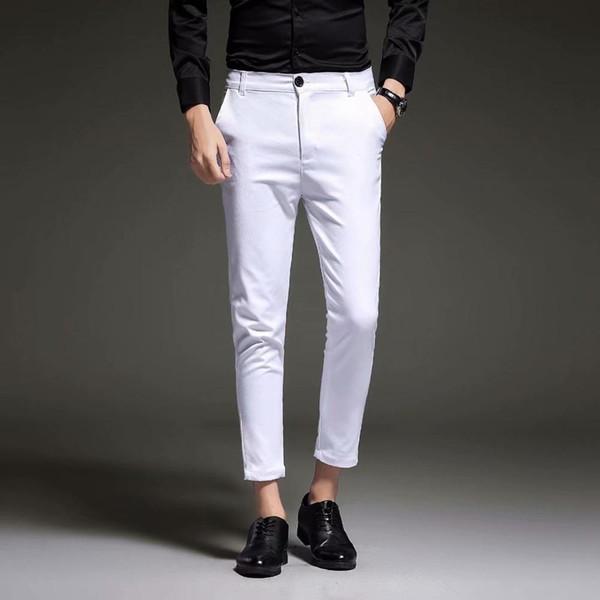 Compre Nuevo 2019 Hombres Slim Fit Pantalones De Vestir De Negocios Para Hombres Trajes Pantalones Hasta El Tobillo Hombres Verano Traje Formal Pantalones Negro Blanco Azul A 21 42 Del Instachic Dhgate Com