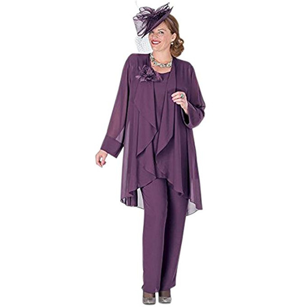 Elegant 3 Pieces Mother The Bride Pant Suits Dress Chiffon Jacket Mother Of The Bride Dresses Formal Party Gowns Plus Size Prom Dress