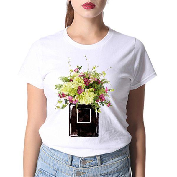 Biz fabrika Parfüm Çiçek Baskılı Zarif T Gömlek Moda Klasik Yeni Yumuşak Tees Tops kadın clothingTop Kalite tshirt 2019