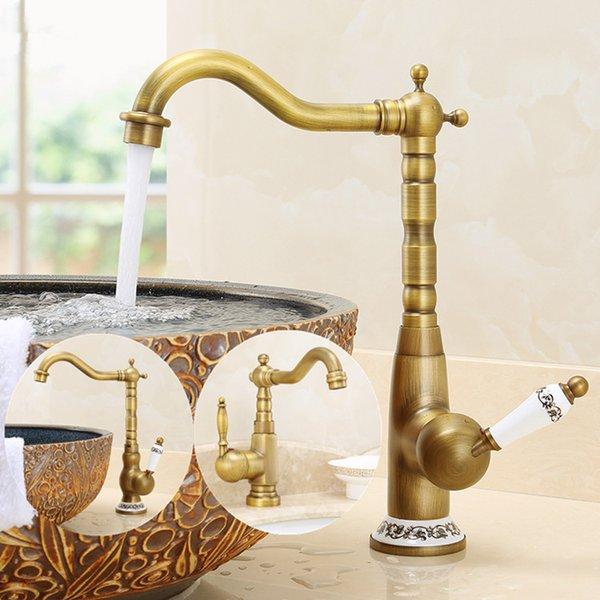 Antico blu e bianco porcellana bacino d'acqua del rubinetto Ottone Ceramica rubinetto del bagno piattaforma montata Miscelatore accessori per il bagno