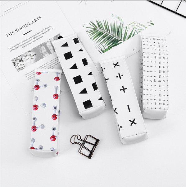 1pc 4 Colors Mathematical Geometry Style Canvas Pencil Case Gel Pen Box Pencil Bag Kids Storage Stationery School Supply