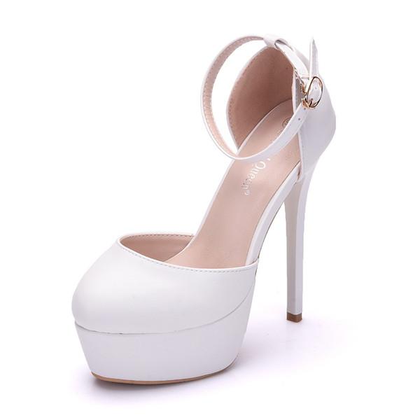 Ayak bileği Kayış Ucuz Bayan Ayakkabıları ile Göz Alıcı PU Deri Yüksek Topuklar Kadın Ayakkabı 2019 Yuvarlak Ayak parmakları Platformu Gelin Düğün Ayakkabı
