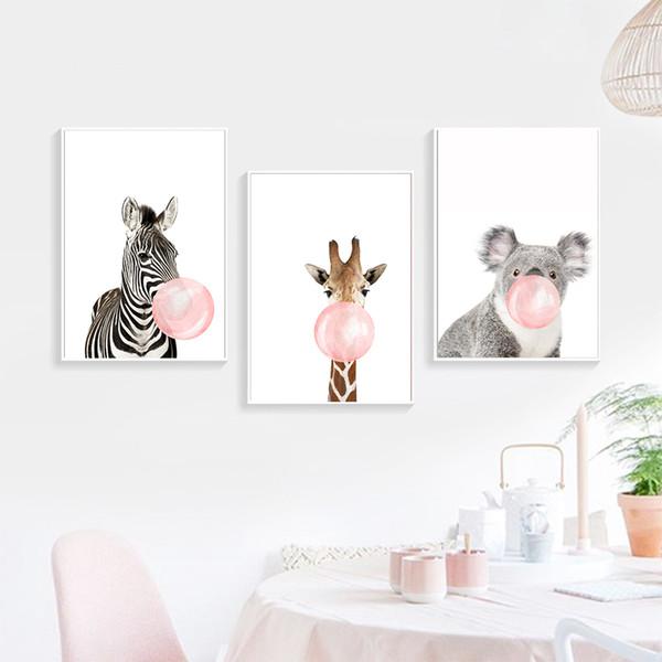 Posters Giraffe dos desenhos animados Animais Zebra Prints Canvas Art Pintura Wall Art Nursery Imagem Nordic Baby Kids quarto Home Decor
