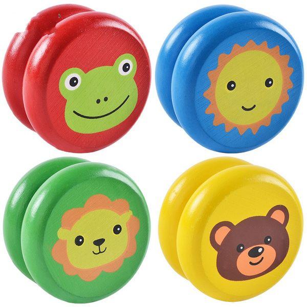 Cartoon Legno Animale Yoyo Ball Bambini Luce solare Rana Orso Lion Trick Ball Interesse Originalità Finger Spinning Giocattoli Vendita calda 2 3cy M1 E1