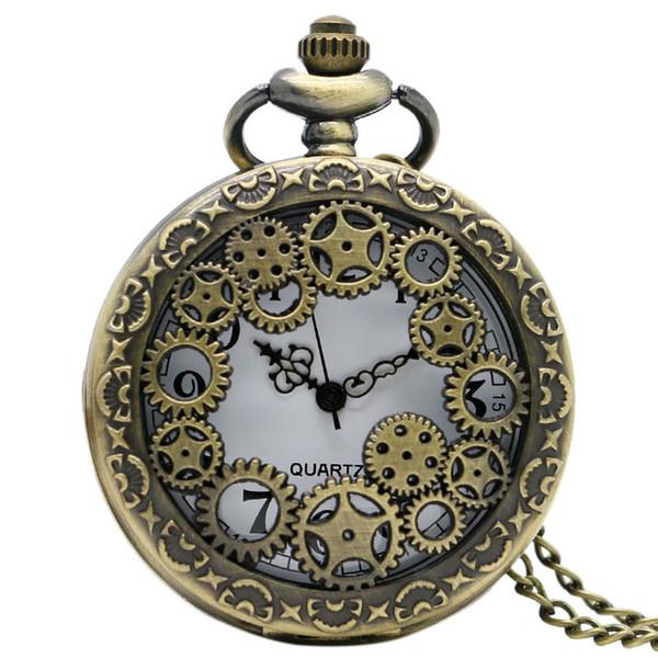 Ретро бронзовый передач полые карманные часы ожерелье античная медь стимпанк старинные кварцевые карманные часы с цепи подарок для любителей
