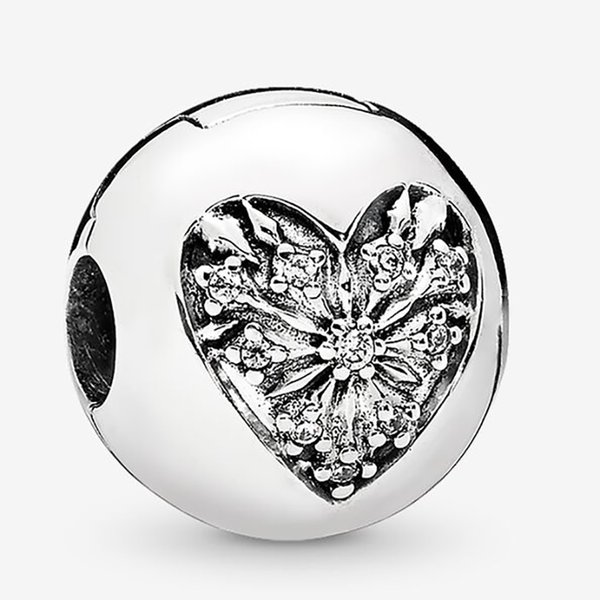 Fit Pandora Bracelet Charm Heart of Winter Clip Authentic Sterling Silver 925 Pendant Charms Beads European Charms DIY Style Jewelry
