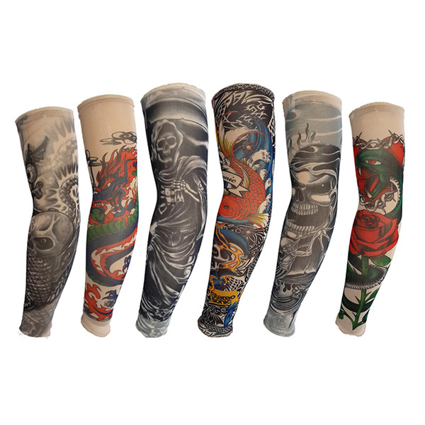 Nylon Elastic Tattoo Cover Arm Sleeve Skull Dragon Snake Flower Fish Designs Sunscreen Sleeves Breathable Cycling Unisex Stretchable Tattoos