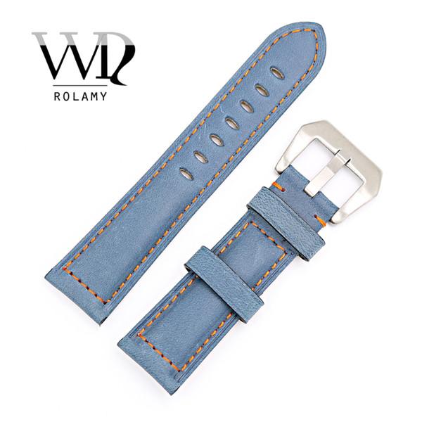 CARLYWET 22 24mm Uhrenarmband mit silberfarbener, gebürsteter Schnalle, blauem echtem Leder, handgefertigt, Ersatz, dickes Vintage-Armband