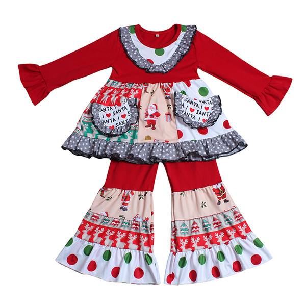 XMZ Wholesale Baby Girl Cute Winter Design Túnica de manga larga Top y pantalones de campana Outfit Kids Girl Christmas Clothing Set