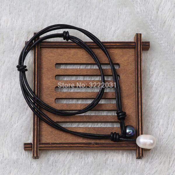 Ambrum Blue Pearl Choker Halskette, Süßwasser Perlen Halskette, Modeschmuck, handgefertigte Lederhalsband Halskette, geknotete Perle