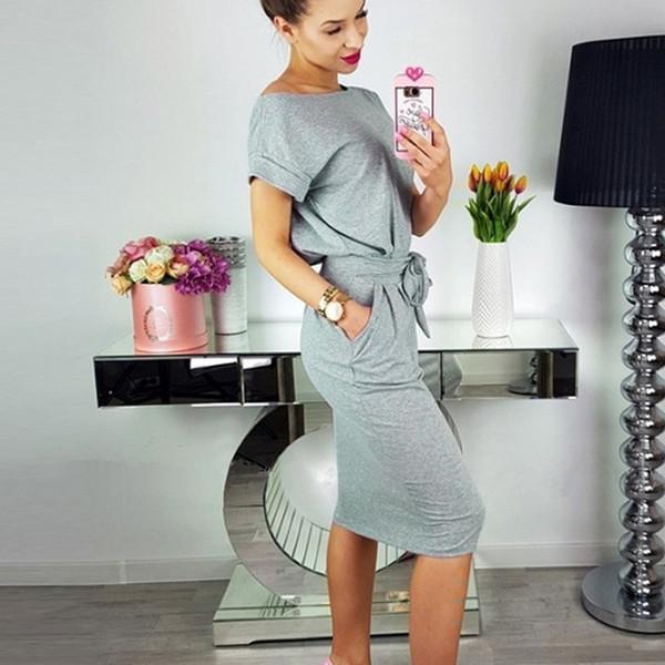 Mulheres Summer Dress Casual Bolso Bow Belt Joelho Comprimento Parte Vestidos SH190629